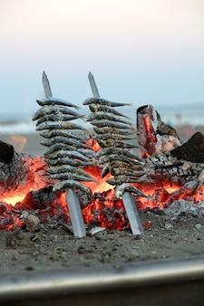 Sardinendicke mit feuer bei sonnenuntergang typisches mediterranes essen der stadt malaga