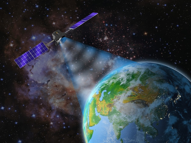 Satellit sendet ein signal an die erde.