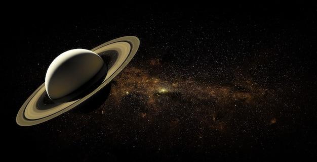 Saturn auf raumhintergrund. elemente dieses bildes von der nasa geliefert.