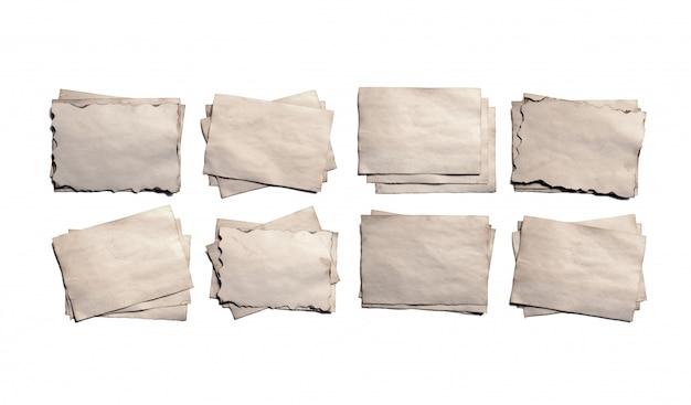 Satz alte leere stücke des zerbröckelnden papiermanuskripts oder des pergaments der antiken weinlese