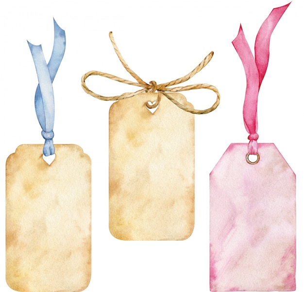 Satz aquarellanhänger mit einer seilschleife, blauen und rosa bändern isoliert