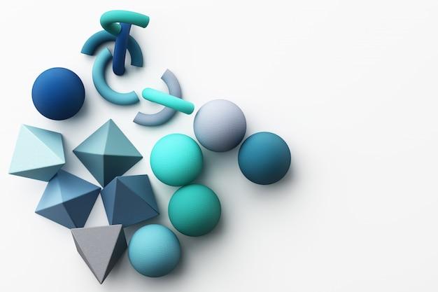 Satz bunte blaue realistische geometrische form mit stoffbeschaffenheit auf weißer 3d-darstellung