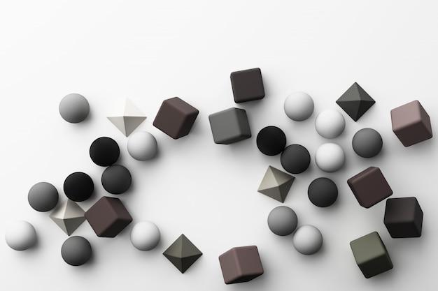 Satz bunte graue realistische geometrische form mit stoffbeschaffenheit auf weißer 3d-darstellung
