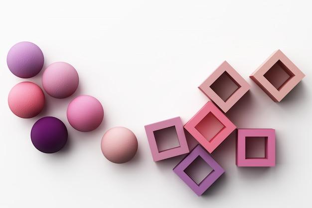 Satz bunte lila realistische geometrische form mit stoffbeschaffenheit auf weißem 3d-rendering