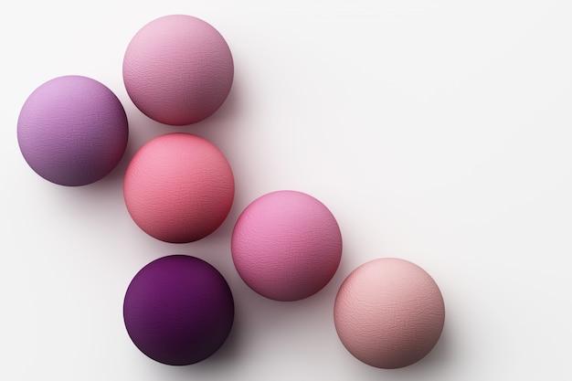 Satz bunte lila realistische kugeln mit stoffbeschaffenheit auf weißem 3d-rendering