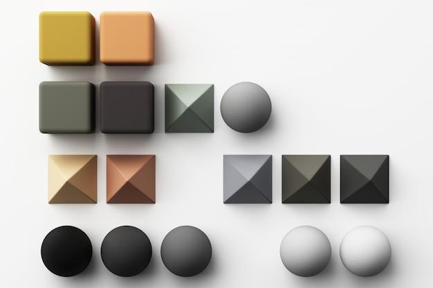 Satz bunte realistische geometrische form mit stoffbeschaffenheit auf weißem 3d-rendering