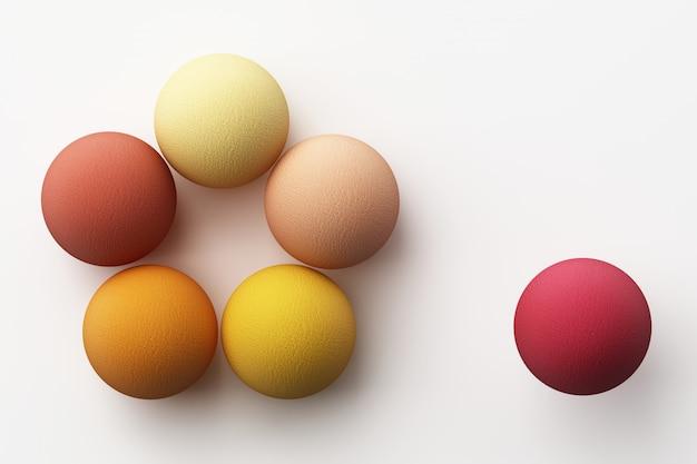 Satz bunte rote realistische kugeln mit stoffbeschaffenheit auf weißer 3d-darstellung