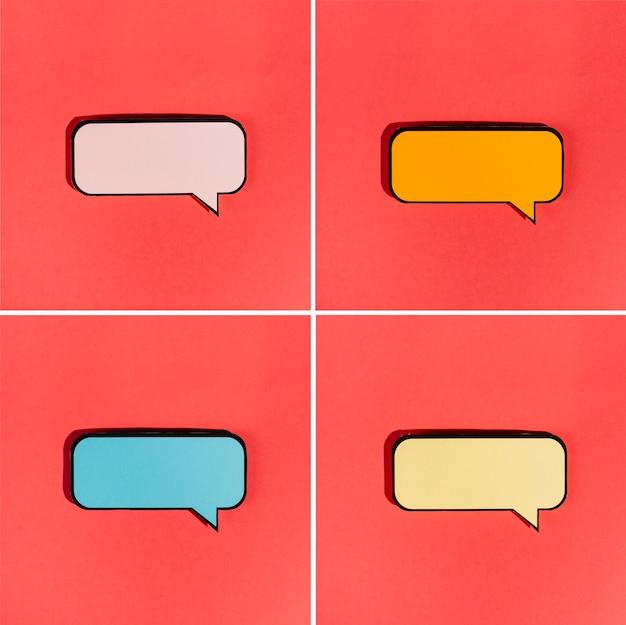 Satz der leeren bunten spracheblase auf rotem hintergrund