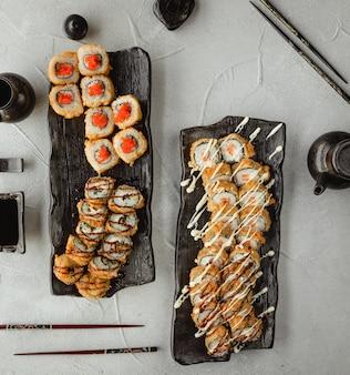 Satz der verschiedenen draufsicht der sushi