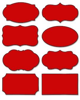 Satz des roten aufklebers mit unterschiedlicher form lokalisiert