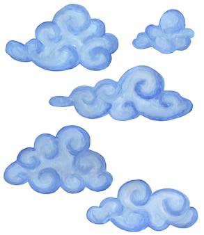 Satz dunkelblaue wolken der karikatur. kinderillustration. isoliert auf weißem hintergrund. handgemalt.