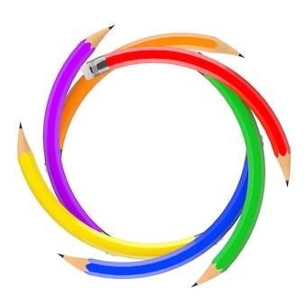 Satz farbstifte biegen in kreisform auf weißem hintergrund. 3d-rendering