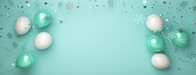 Satz fliegender ballon und konfetti