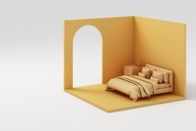 Satz gelbe möbel und isometrische wand 3d rendering