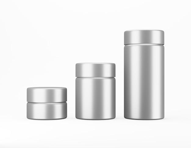 Satz glänzendes metallglas auf weiß