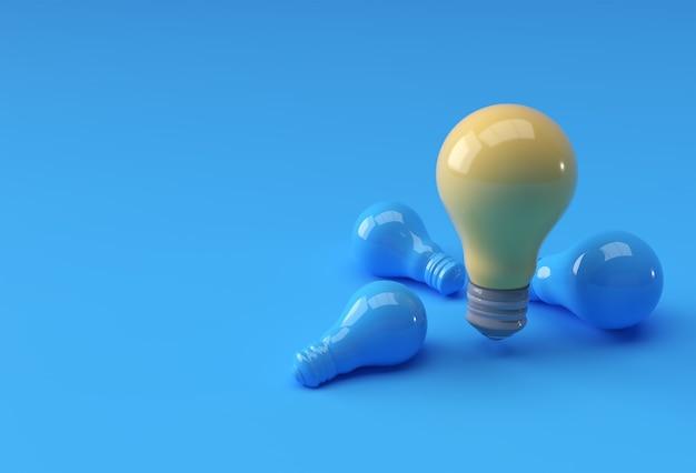 Satz glühbirne auf gelbem pastellfarbhintergrund mit schatten. 3d-rendering.