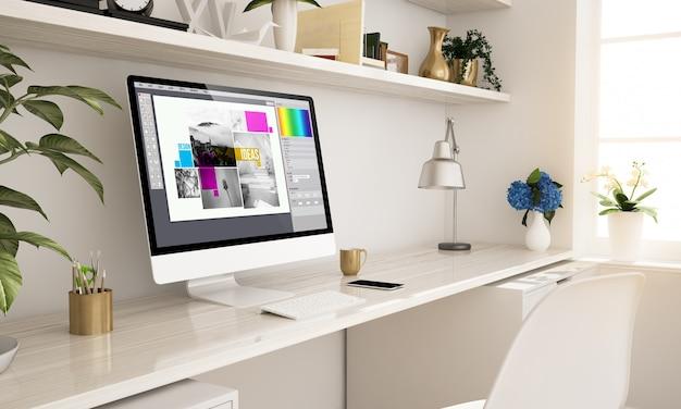 Satz grafikdesign studio zu hause eingerichtet