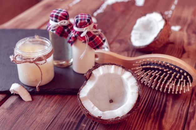 Satz kokosnussprodukte für haarpflege