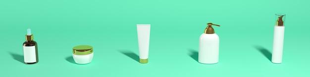 Satz kosmetische gläser auf einem grünen hintergrund, fahne, mocap