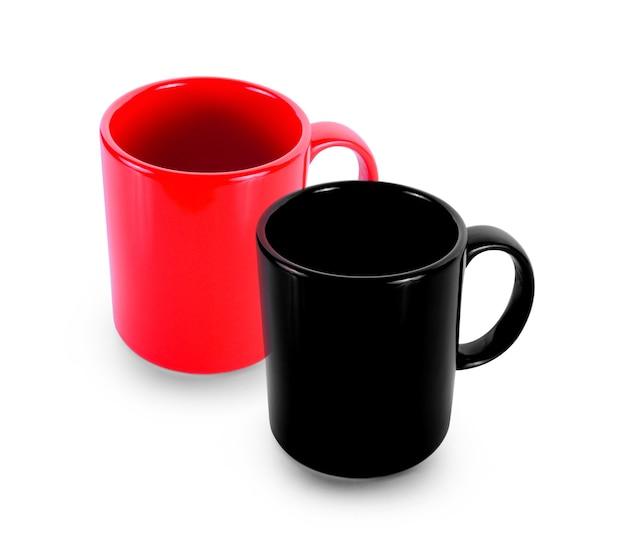 Satz leere tasse rot und schwarz auf weißem hintergrund