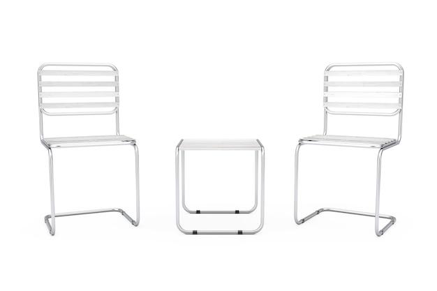 Satz moderne metallstühle und -tisch mit hölzernen planken auf einem weißen hintergrund auch im corel abgehobenen betrag. 3d-rendering