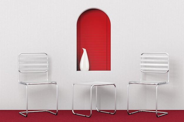 Satz moderne metallstühle und tisch mit holzbohlen vor rotem fenster im modernen raum. 3d-rendering