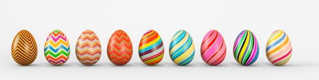 Satz realistische eier auf weißem hintergrund. 3d-rendering-illustration.