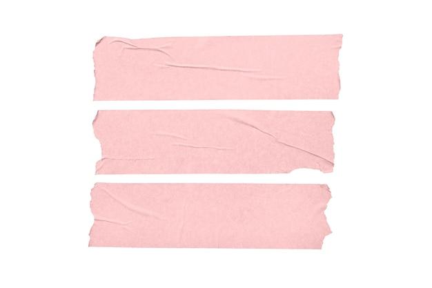 Satz rosa leere bandaufkleber lokalisiert auf weißem hintergrund.
