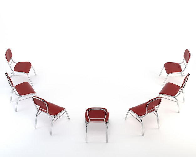 Satz rote stühle, lokalisiert auf weißem hintergrund.