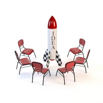 Satz rote stühle und eine rakete lokalisiert auf weißem hintergrund.