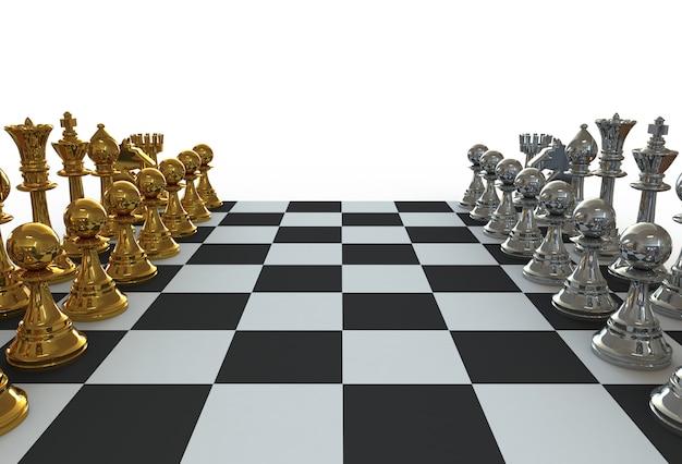 Satz schachfiguren auf dem spielbrett auf weiß