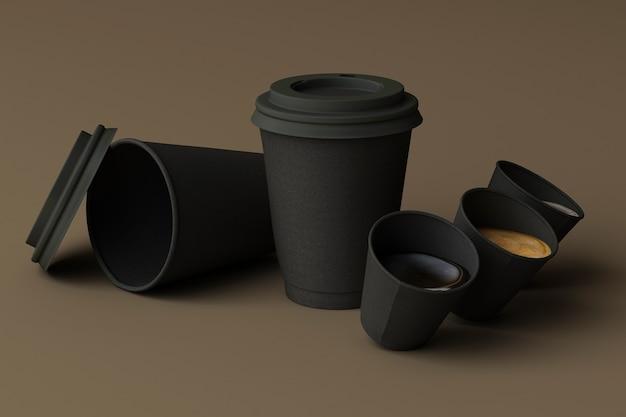 Satz schwarze kaffeetassen auf braunem hintergrund. 3d-rendering
