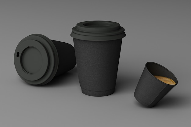Satz schwarze kaffeetassen auf grauem hintergrund. 3d-rendering