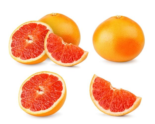 Satz stücke der reifen grapefruit auf weißem hintergrund, lokalisiert