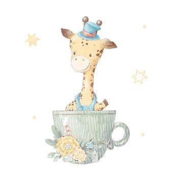 Satz süße cartoon-giraffe in einer tasse. aquarellillustration