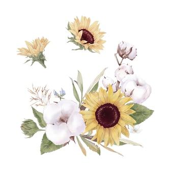 Satz süße sonnenblumen blüht äste und blätter. aquarellillustration.