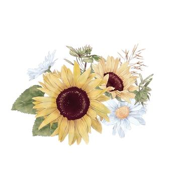Satz süße sonnenblumen blüht äste und blätter. aquarellillustration