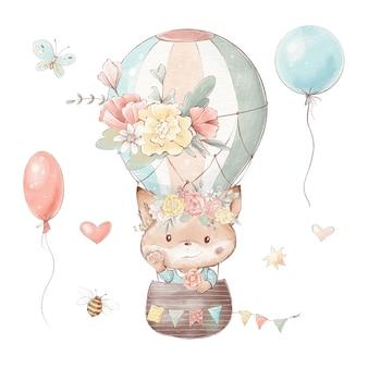 Satz süßer cartoon-fuchs in einem heißluftballon.