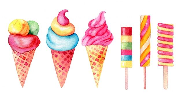 Satz vanille, minze; erdbeer-, pistacio-eiscreme in den waffelkegeln und klebt weinleseaquarellillustration lokalisiert