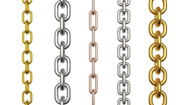Satz vertikaler metall-, silber- und goldketten