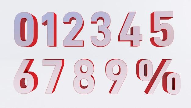 Satz volumetrischer 3d-zahlen und prozentzeichen. 3d-rendering