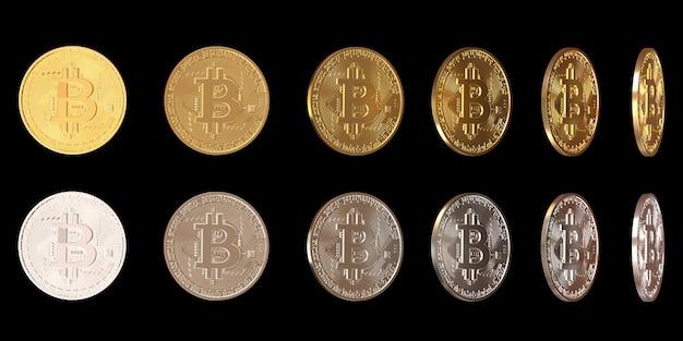 Satz von bitcoins, die sich um seine achse drehen verschiedene positionen von silber-bitcoins und gold-bitcoins
