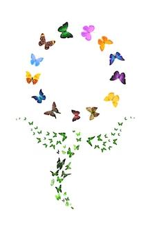 Satz von fliegenden schmetterlingen in form einer blume auf weißem hintergrund. tropische insekten. farbige motten für das design. foto in hoher qualität