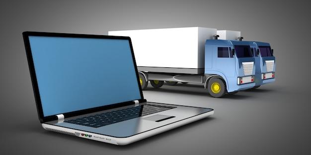 Satz von lastwagen und laptop lokalisiert auf weiß