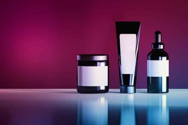 Satz von schwarzen kosmetikflaschen mit weißen leeren etiketten