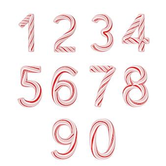 Satz von symbolen von 0 bis 9 mint candy cane alphabet letters numbers collection gestreift in roter weihnachtsfarbe auf weißem hintergrund. 3d-rendering