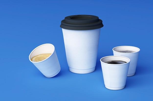 Satz weiße kaffeetassen auf blauem hintergrund. 3d-rendering