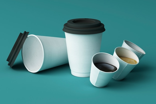 Satz weiße kaffeetassen auf grünem hintergrund. 3d-rendering