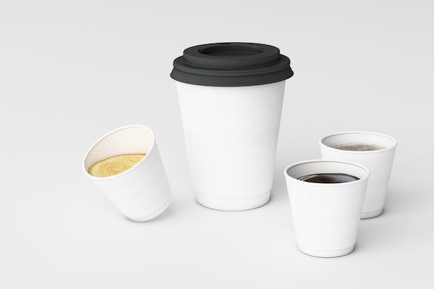 Satz weiße kaffeetassen auf weißem hintergrund. 3d-rendering