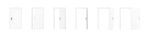 Satz weiße zimmertür in verschiedenen ansichten von geschlossen bis geöffnet auf weißem hintergrund. 3d-rendering